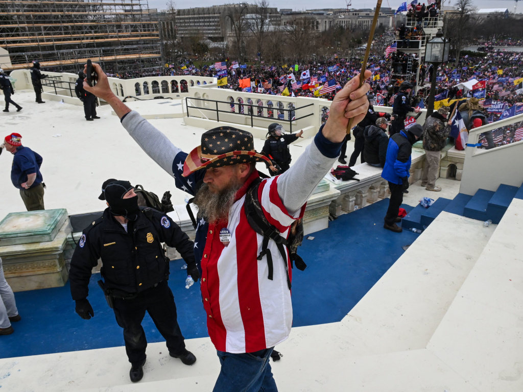 Trump supporters clash with police and security forces as they invade the U.S. Capitol on Wednesday.