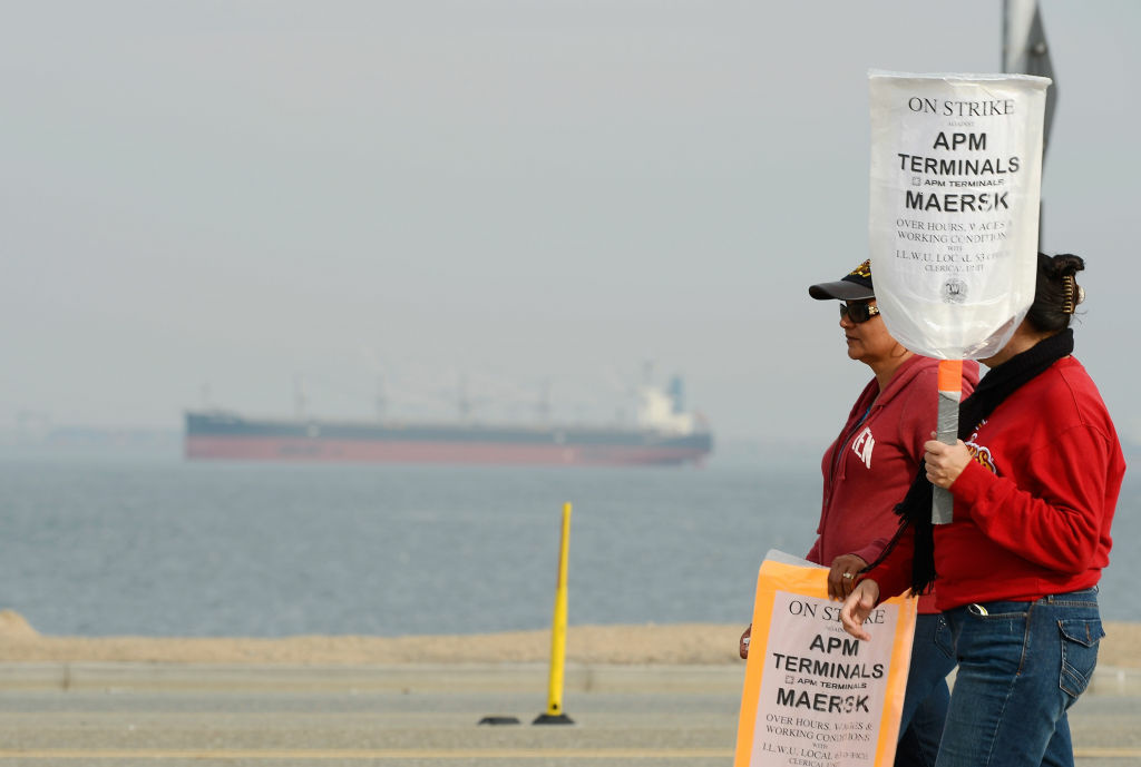 An empty container ship is anchored at the entrance to the harbor as members of the  International Longshore and Warehouse Union strike, putting a halt to most of the work at the Los Angeles and Long Beach ports for the eighth day on December 4, 2012 in Los Angeles, California. Union workers are opposed to layoffs from the shipping companies that employ them. The opposing sides agreed today to meet with a federal mediator in hopes of resolving the labor dispute at the busiest seaport complex in the nation.