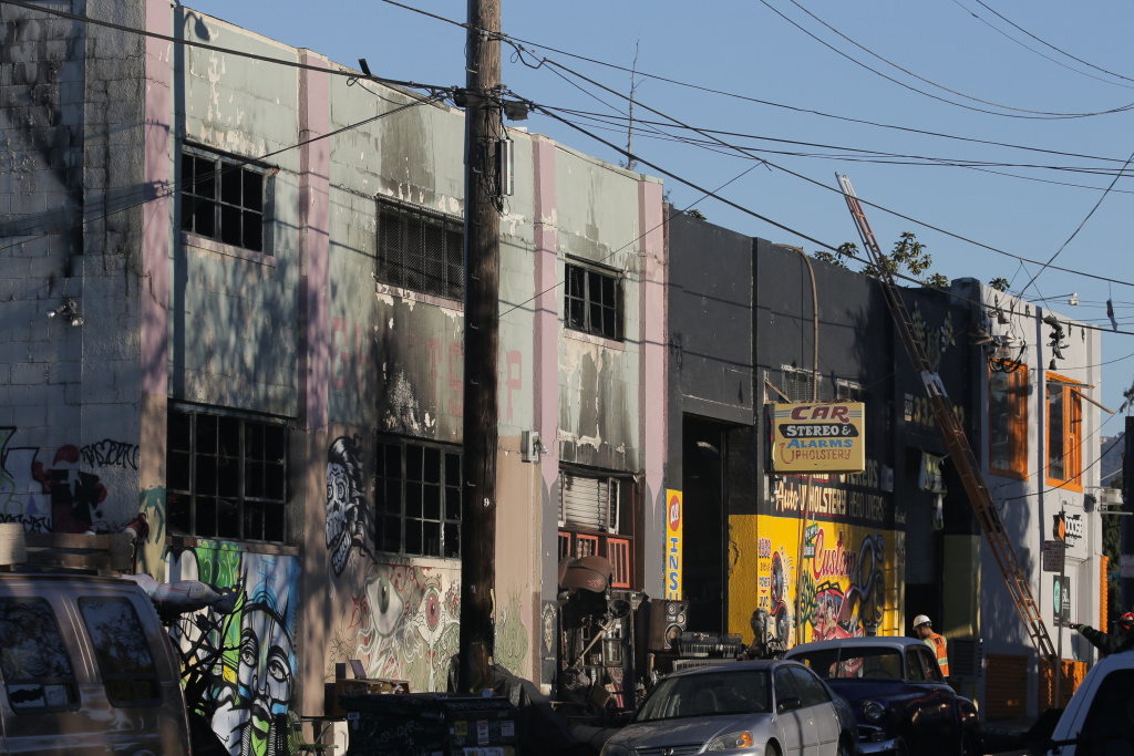 The face of a building that was the scene of a overnight fire that claimed the lives of at least nine people at a warehouse in the Fruitvale neighborhood on December 3, 2016 in Oakland, California. The warehouse was hosting an electronic music party.