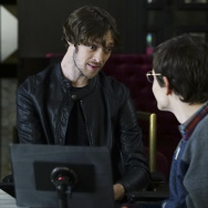 "Zach Anner (left) and Micah Fowler in a season one episode of ABC's ""Speechless."""