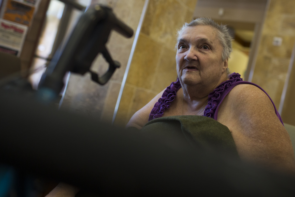 Lillian Gaffney of Lytle Creek is worried about the status of her home. Gaffney has lived in her home for 46 years. She waits to hear news at a Red Cross evacuation center at Fontana Park Community Center on Wednesday morning, Aug. 17, 2016.