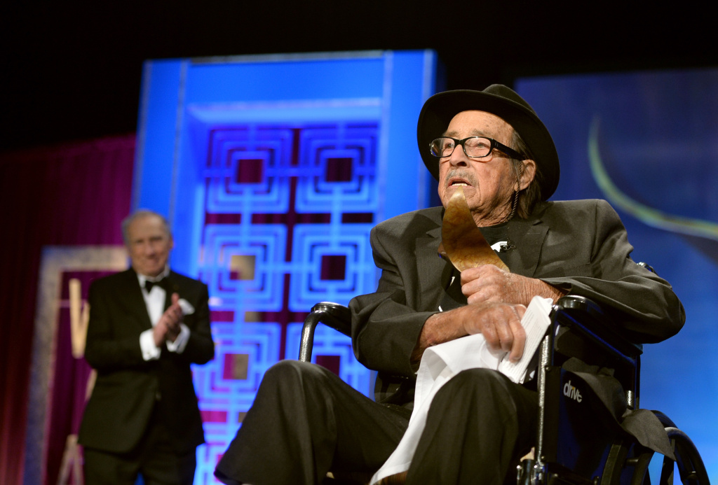 Mel Brooks (L) presents Paul Mazursky with the 2014 Screen Laurel Award onstage during the 2014 Writers Guild Awards L.A. Ceremony at J.W. Marriott at L.A. Live on February 1, 2014 in Los Angeles, California.