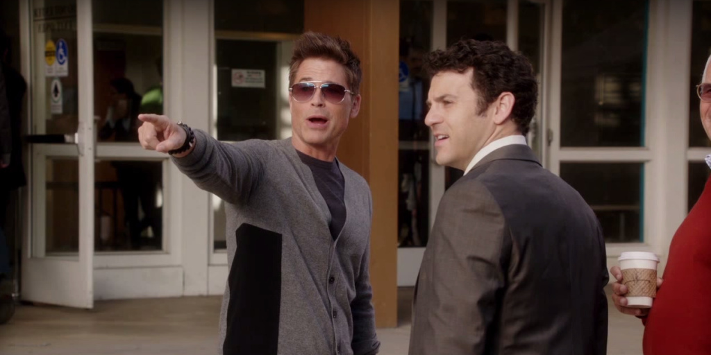 A screen capture from YouTube of Rob Lowe and Ben Savage from 'The Grinder' show trailer.