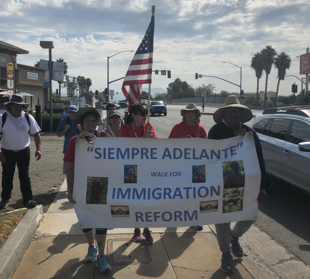 About a dozen pilgrims from Santiago de Compostela Catholic Church in Lake Forest walked from Orange County to downtown LA for the annual mass.