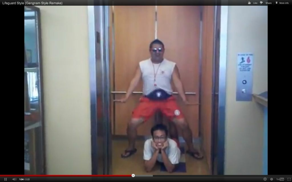 A screen shot of El Monte lifeguards spoofing a Korean viral music video.