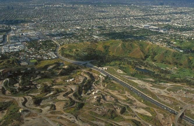 Baldwin Hills, including the oil field, from above.
