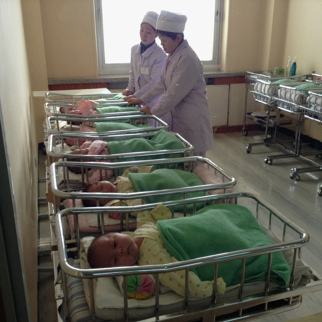 An iPhone photo of nurses at a maternity hospital in Pyongyang. In Jan., foreigners were allowed for the first time to bring mobile phones into the country.