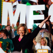 California Republican gubernatorial candidate and former eBay CEO Meg Whitman waves at supporters during a campaign event on October 31, 2010 in Burbank. In a New York Times interview Tuesday, Whitman said she plans to fundraise and vote for Hillary Clinton.