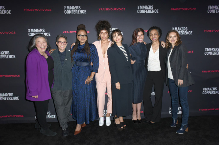 (L-R) Tina Tchen, Jill Soloway, Ava DuVernay, Melina Matsoukas, Rashida Jones, Maha Dakhil, Nina Shaw and Natalie Portman attend the 2018 Makers Conference.