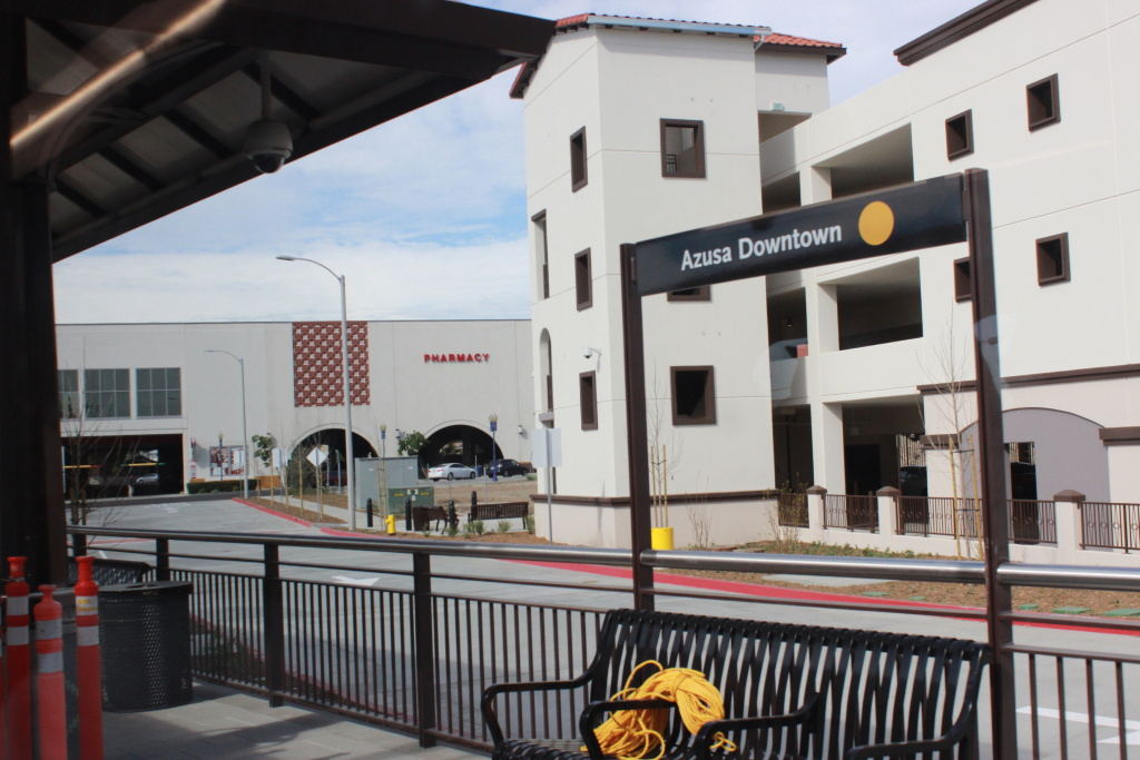 The new Azusa Downtown station, one of two new stations in Azusa on the Gold Line extension.