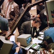 A trader at the New York Stock Exchange reacts on Oct. 19, 1987, when the Dow Jones industrial average plunged more than 22 percent — the biggest single-day drop in history.