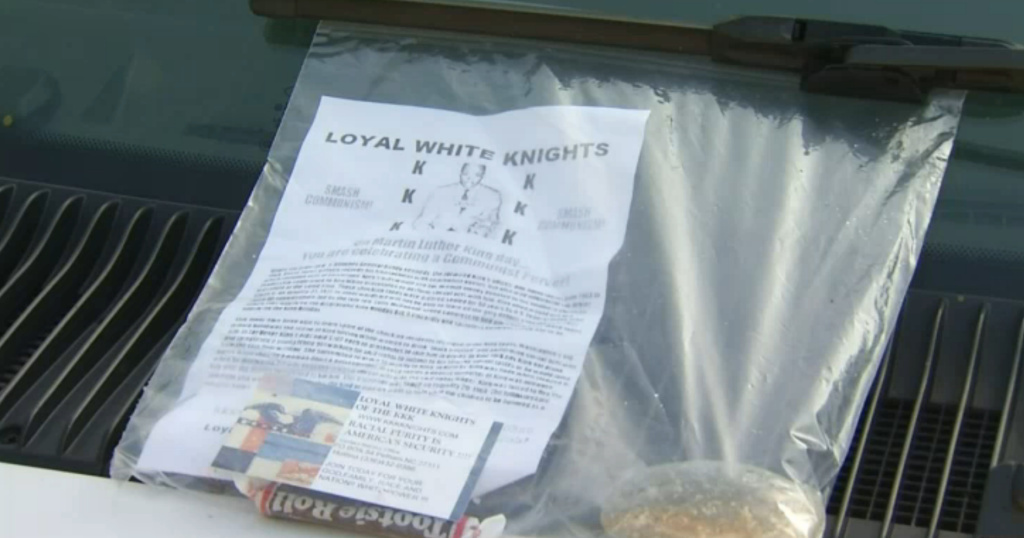 A bag containing anti-Martin Luther King Jr. literature was one of about 40 delivered to residents of a Santa Ana neighborhood on Monday. According to media reports, the literature called King a