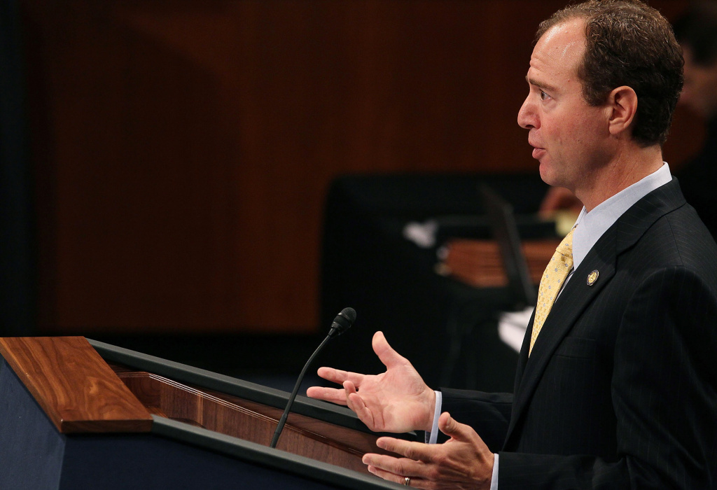 House Manager Rep. Adam B. Schiff (D-CA), speaks during the U.S. Senate impeachment impeachment trial of U.S. District Court Judge for the Eastern District of Louisiana, G. Thomas Porteous Jr.(R), on September 13, 2010 in Washington, DC. Earlier this year Judge Porteous was impeached by the House of Representatives and now faces a Senate impeachment trial  with charges involving payoffs, kickbacks and lying under oath.