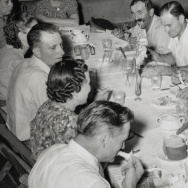 Spaghetti supper at Grape Festival, Tontitown, Arkansas, Aug. 16, 1941. Writers and photographers for the America Eats projects captured eclectic scenes across the nation, from Texas up to Vermont and the Atlantic to the Pacific.