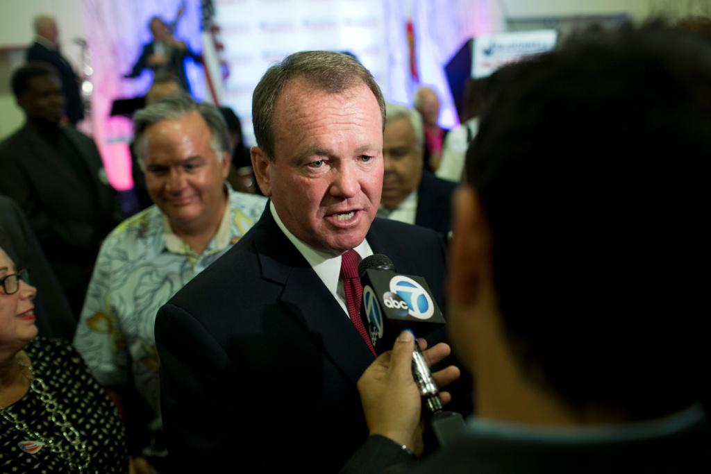 Los Angeles County Sheriff candidate Jim McDonnell does an interview during his election gathering at the JW Marriott in downtown Los Angeles on Tuesday night, June 3.