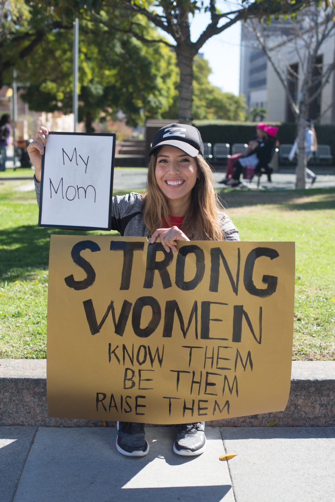 Gia Alulema, 26, of Silverlake. I picked my mom because she raised me to be a strong and independent woman. January 20, 2018 at Downtown Los Angeles, California. (James Bernal for KPCC)