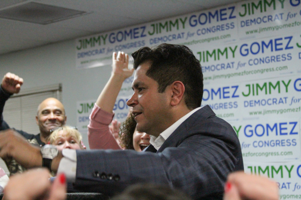 Candidate Jimmy Gomez accepts congratulations after announcing the initial vote count for the 34th Congressional District runoff at his campaign headquarters on June 6, 2017, in Los Angeles, California.
