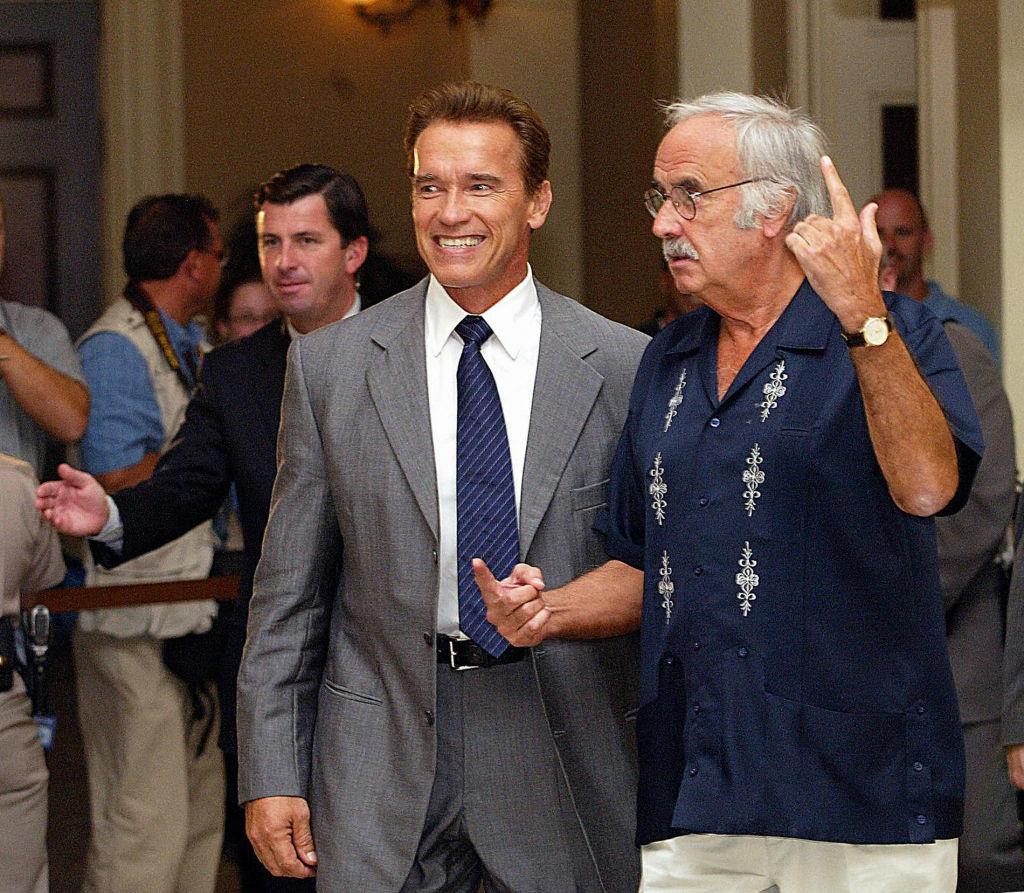 California Democratic Party Chairman John Burton (R) with former Governor Arnold Schwarzenegger.