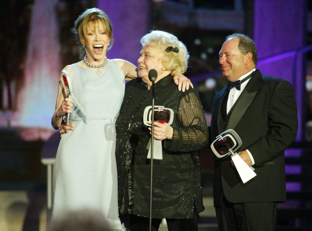 Actors Mary Tyler Moore, Rose Marie and Larry Mathews from 'The Dick Van Dyke Show' accept their Legend Award during the TV Land Awards on March 2, 2003 in Hollywood, California.