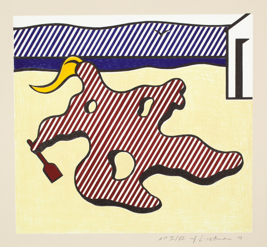 Roy Lichtenstein, Nude on Beach, from the Surrealist Series, 1978. Collection of the Jordan Schnitzer Family Foundation. © Estate of Roy Lichtenstein / Gemini G.E.L.