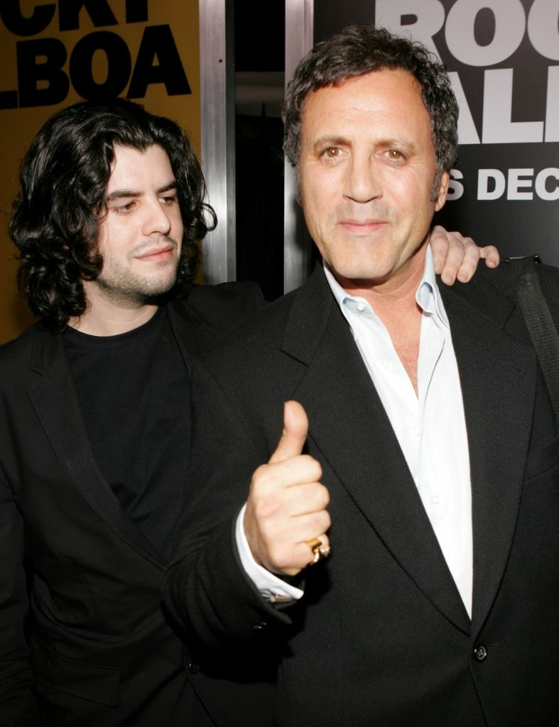 Actors Sage Stallone (L) and Frank Stallone (R) at the premiere of MGM's 'Rocky Balboa' at the Grauman?s Chinese Theater on December 13, 2006 in Hollywood, California.