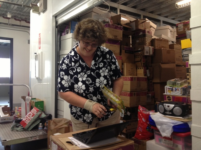 Internet toy-seller Leigh Smyth takes inventory at her Pasadena storage facility. Smyth says California's law requiring certain out-of-state online companies to collect sales tax has leveled the playing field for her business.
