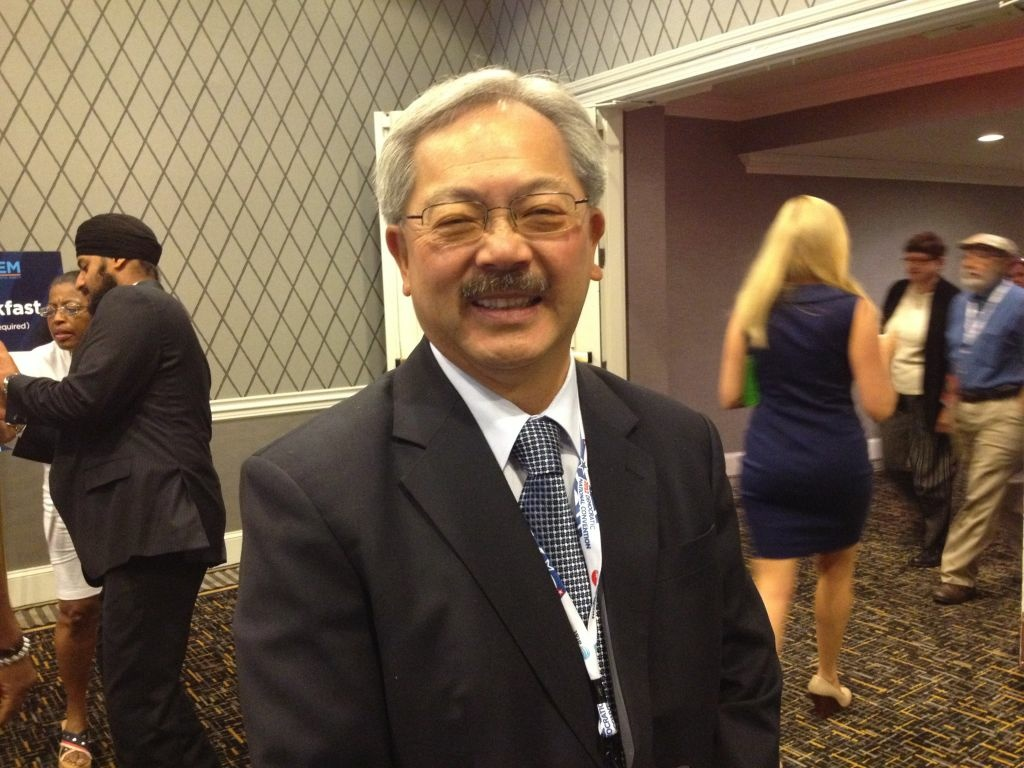 San Francisco Mayor Ed Lee spent the California delegation's Thursday breakfast boasting that he's worked well with his city's unions.