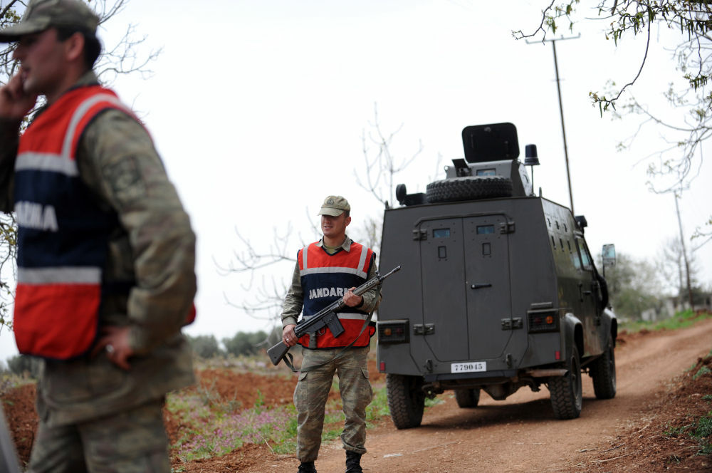 Turkish army personnel patrol near the border with Syria in Kilis earlier this month.