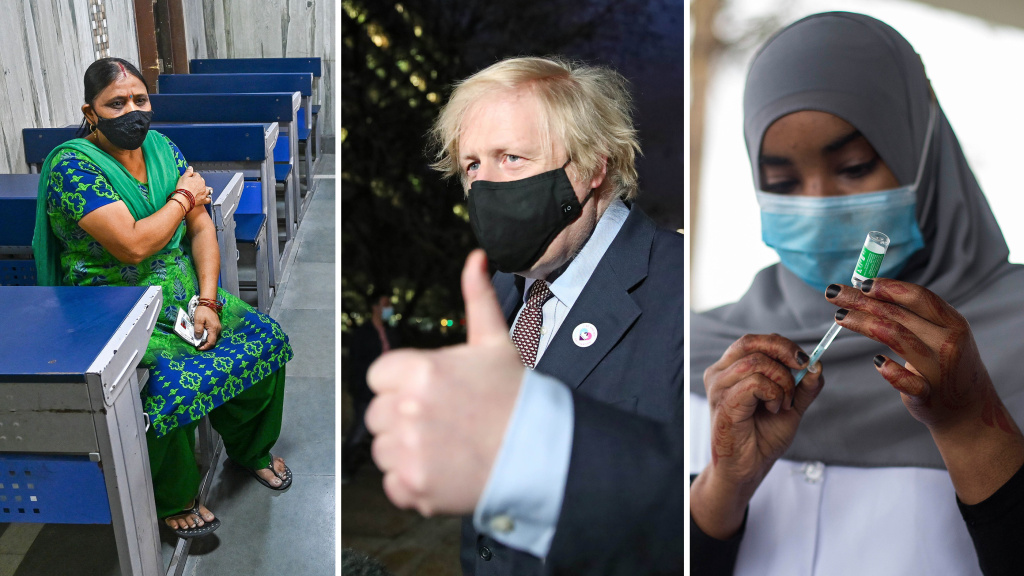 From left: A New Delhi woman waits in an observation room after getting the Covishield vaccine (the name used for the AstraZeneca vaccine in India) on May 26. U.K. Prime Minister Boris Johnson leaves a vaccination center after his first AstraZeneca dose on March 19. On March 9, Nairobi, Kenya, began vaccinating groups, including health care workers and older people, with the AstraZeneca vaccine.