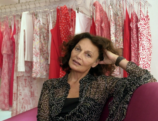 Designer Diane Von Furstenberg poses wearing one of her signature wrap dresses.