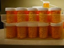 Medication being prepped for distribution.