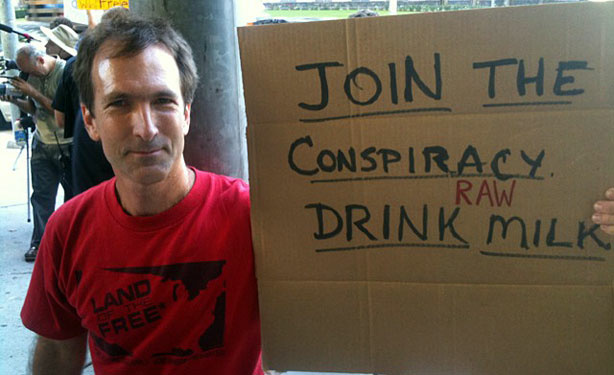 David Barker of Eagle Rock was among the raw dairy supporters outside the courthouse in downtown Los Angeles.