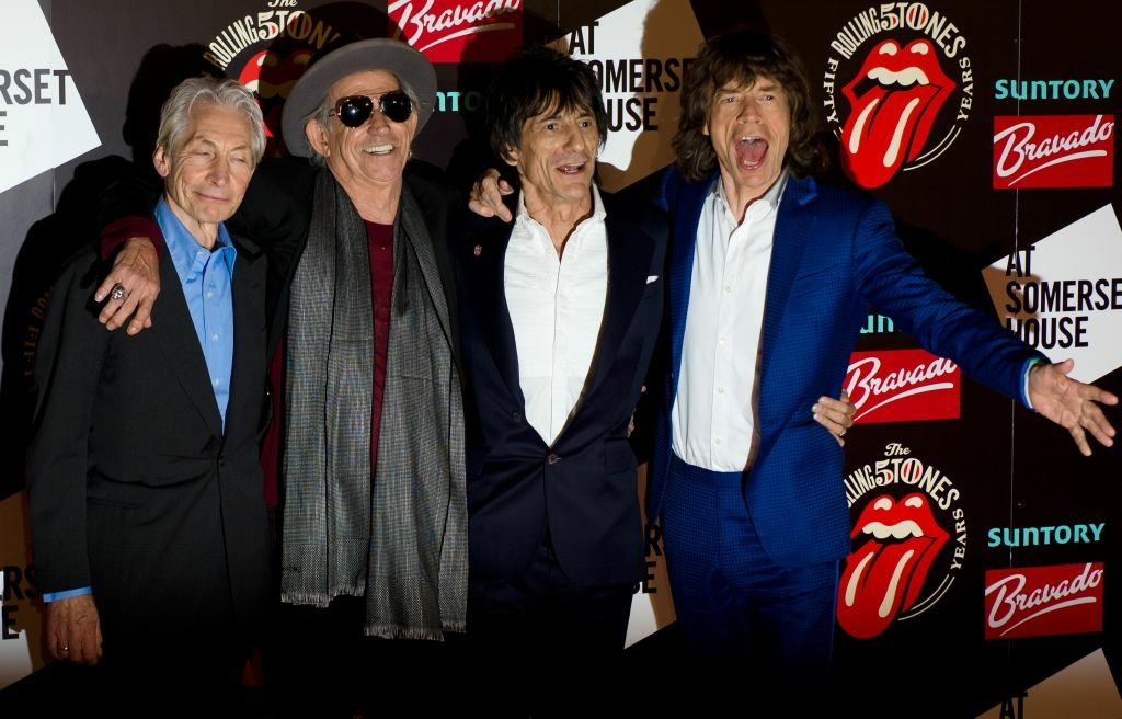 From left to right: Charlie Watts, Keith Richards, Ronnie Wood and Mick Jagger arrive at Somerset House in central London to celebrate the launch of a book 'Rolling Stones 50.' The Rolling Stones also launch a photographic exhibition marking 50 years since their first gig. Mick Jagger, Keith Richards and Brian Jones played the Marquee Club in London on July 12, 1962, the first time they performed under the band name.