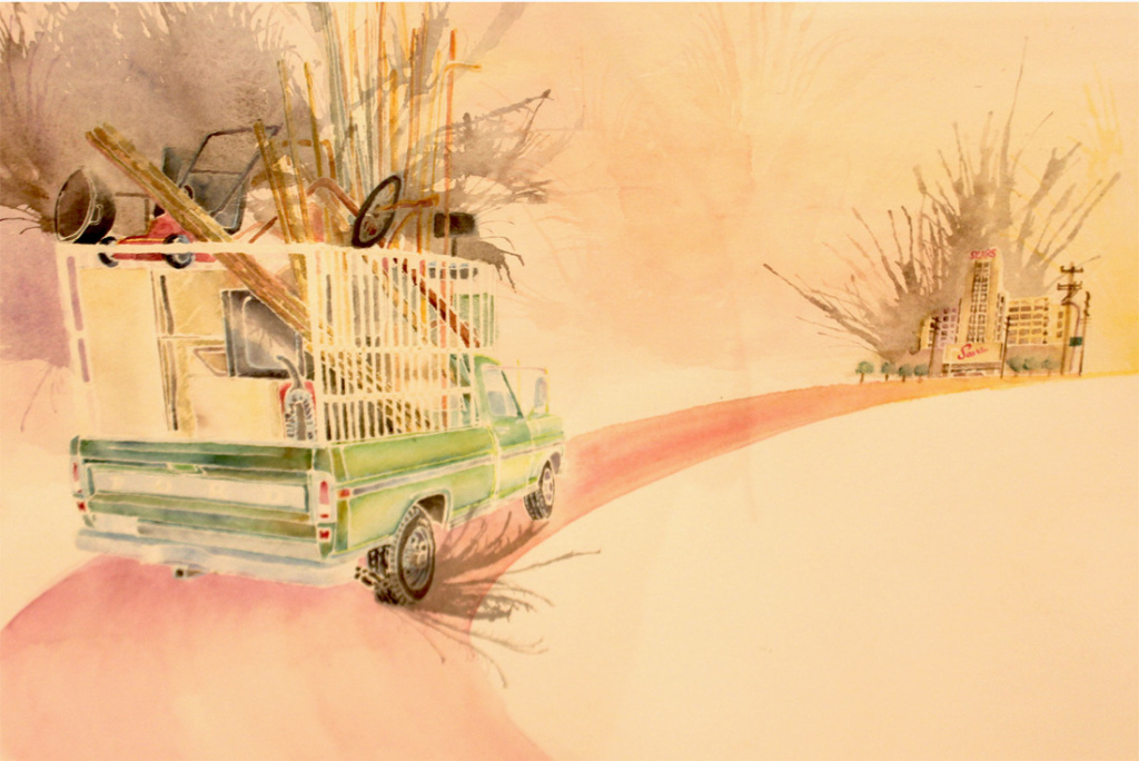 Wenceslao Quiroz, Sears Scrapping on Soto, 2013, watercolor and ink on paper. Collection of Cheech Marin