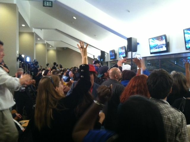 Members of the L.A. Democratic Party and the County Federation of Labor at the Stadium Club in Dodger Stadium, celebrating President Barack Obama's re-election.