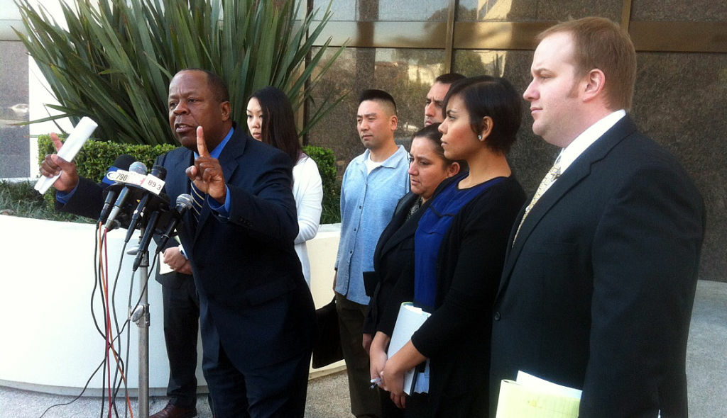 At a news conference in Beverly Hills, civil rights attorney Leo Terrell and several L.A. County Sheriff's deputies discuss lawsuits they filed against the department.