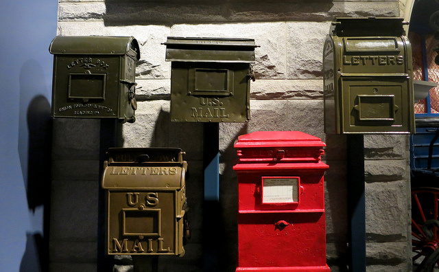 A display of historical mailboxes at the National Postal Museum.