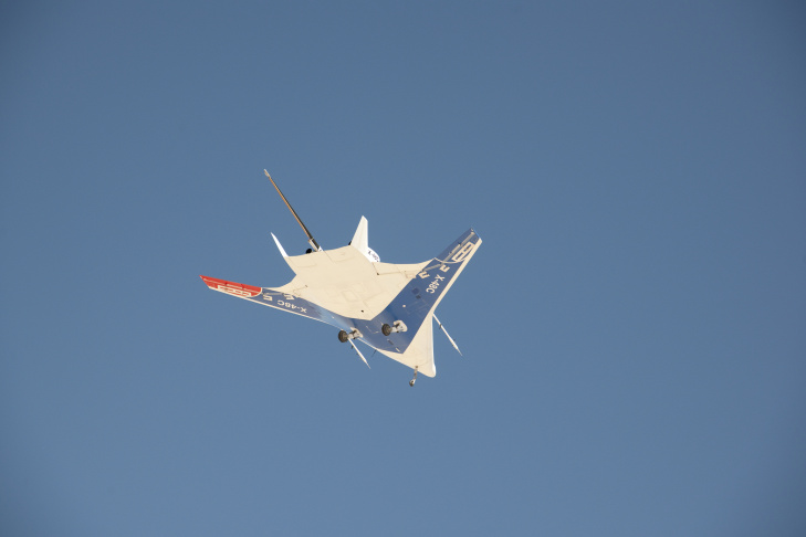 The manta ray-like shape of the X-48C Hybrid Wing Body aircraft is obvious in this underside view as it flies over Edwards Air Force Base on a test flight on Feb. 28, 2013.
