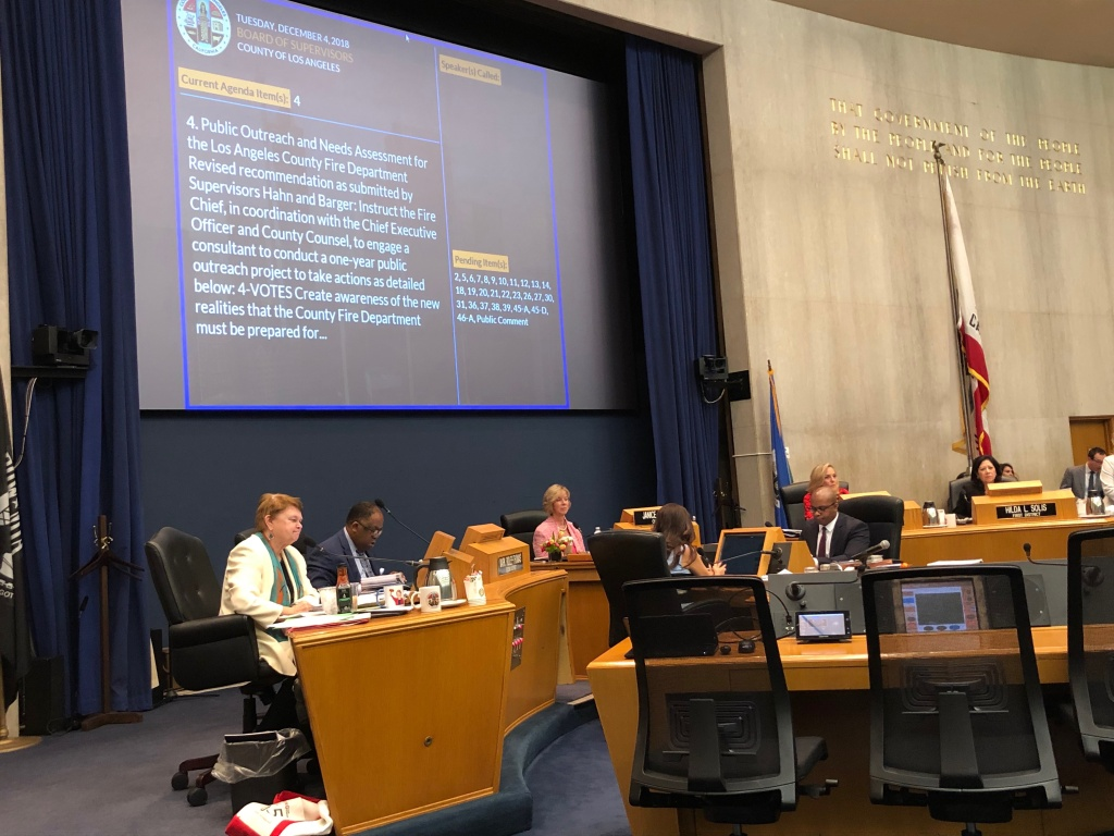 The L.A. County Board of Supervisors approves a $4.5 million public outreach project after recent study shows fire department needs nearly a billion dollars to update its resources.
