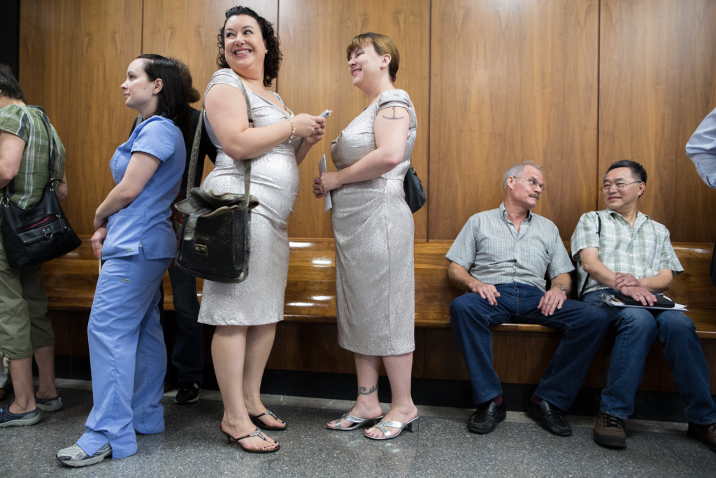 Jessica Maxwell and Shana Krochmal stand in line to get their marriage license at the Beverly Hills Court House. They have been together for the past five years.