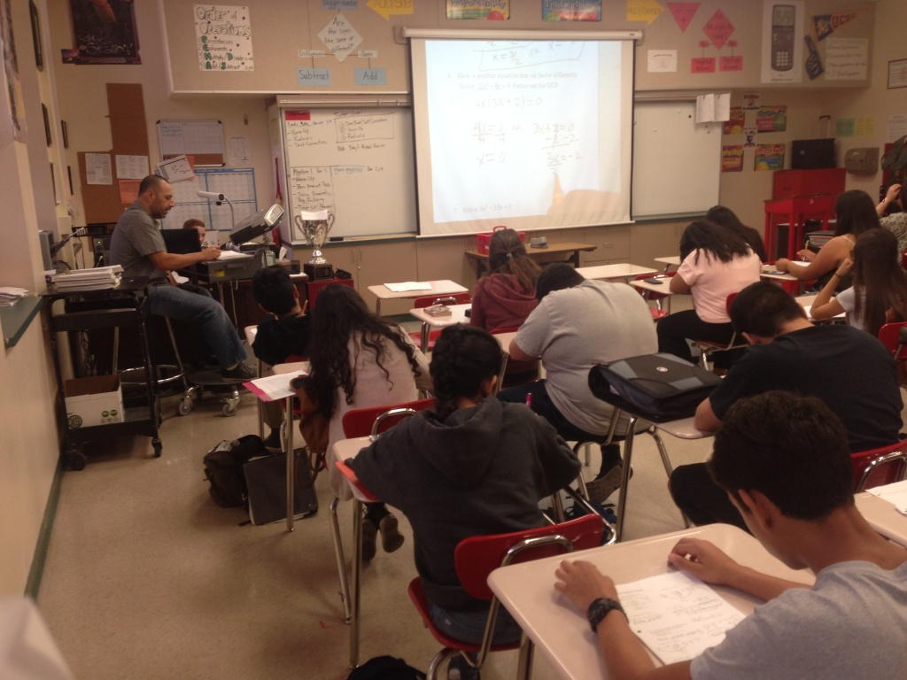 A Whittier High School math class uses in-class peer tutors to help students master the content.