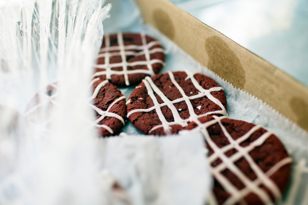 Red velvet cookies are among the many different cookie flavors, in addition to s'more and chocolate chip.
