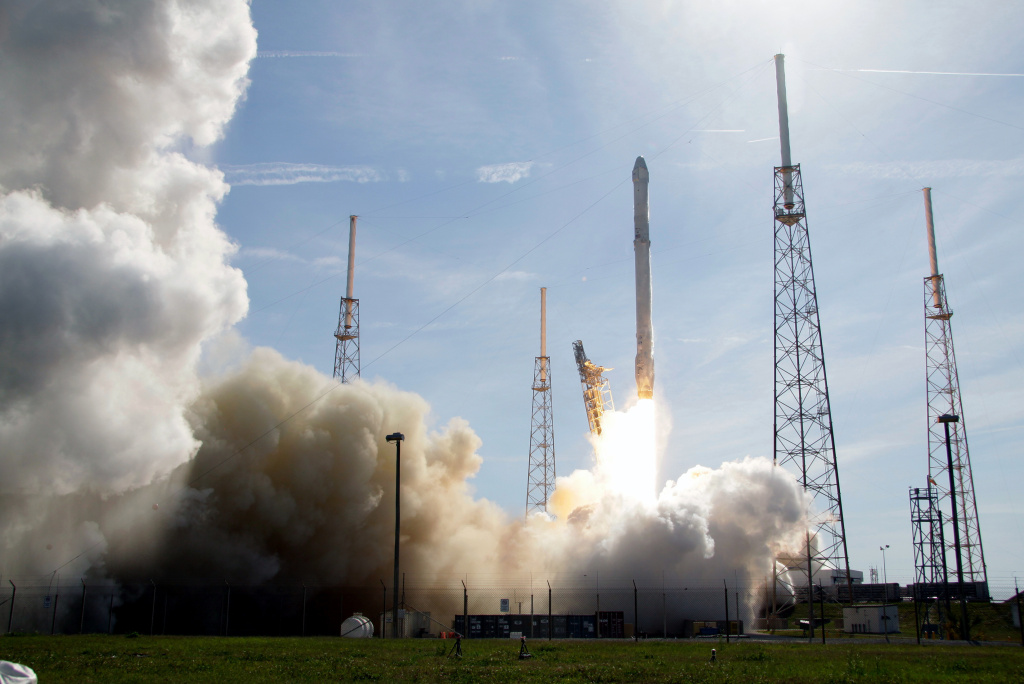 File: The SpaceX Falcon 9 rocket lifts off from launch complex 40 at the Kennedy Space Center in Cape Canaveral, Fla., Friday, April 8, 2016.