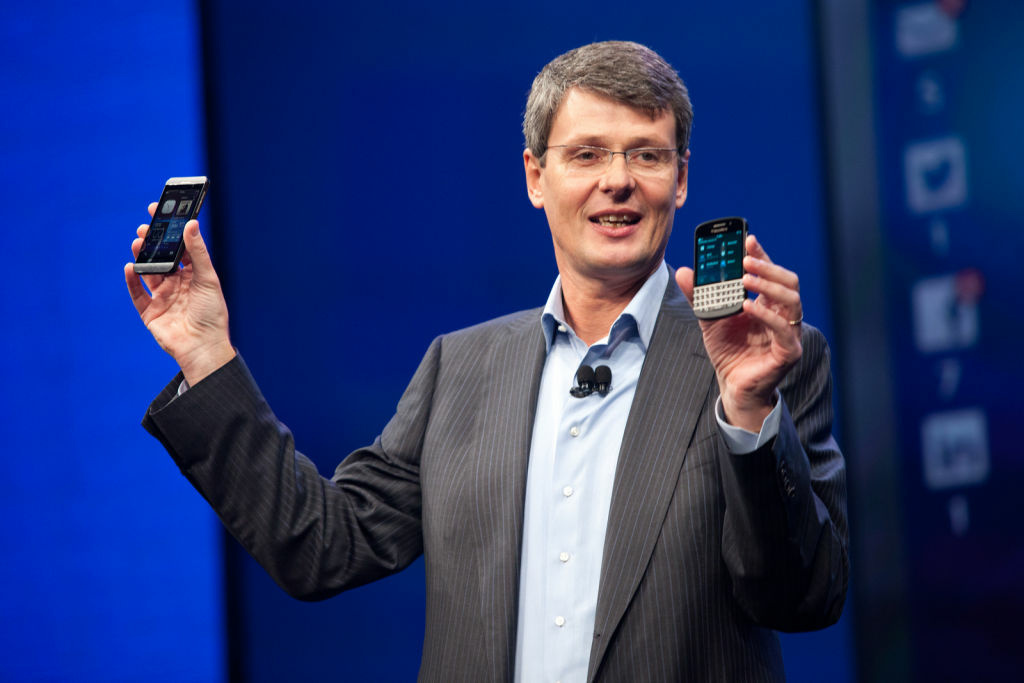 File: A close-up of Thorsten Heins, president and chief executive officer of BlackBerry, as he presents the company's new phones: BlackBerry Z10 and the BlackBerry Q10. BlackBerry said it will lay off 4,500 employees, or 40 percent of its global workforce.