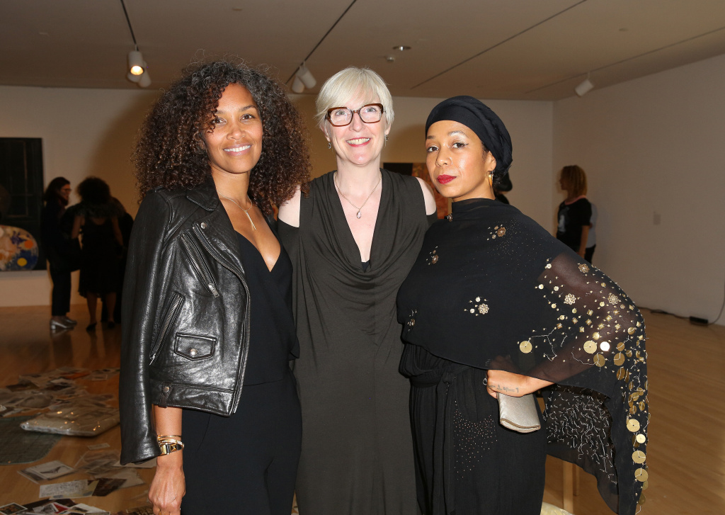 Writer Mara Brock Akil, curator Helen Molesworth and artist Karon Davis attend the opening of Kerry James Marshall: Mastry at MOCA Grand Avenue on March 11, 2017 in Los Angeles, California.