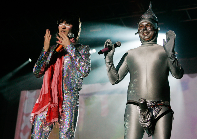 The Mighty Boosh, including Noel Fielding and Julian Barratt Perform in the street during  the switching on of Stella McCartney's London store Christmas Lights on Nov. 23, 2009 in London, England.