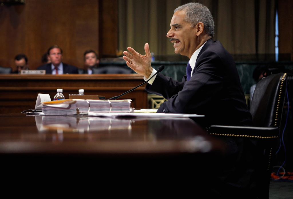 U.S. Attorney General Eric Holder answers questions while testifying before the Senate Judiciary Committee on Capitol Hill June 12, 2012 in Washington, DC.