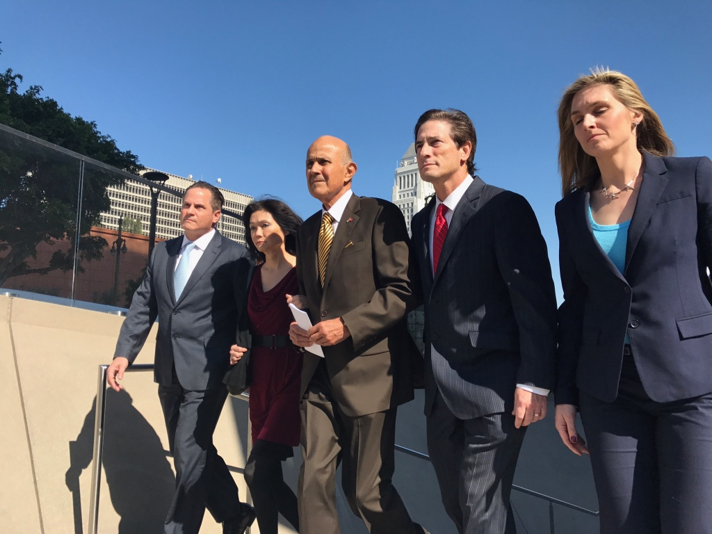 Former L.A. County Sheriff Lee Baca leaves the federal courthouse after being convicted of lying, conspiracy and obstructing an FBI investigation into inmate abuse in the jails.