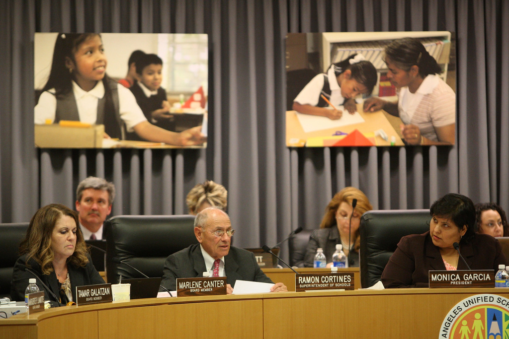 Superintendent of Schools Ramon Cortines (C) and other members of the Los Angeles Unified School District Board of Education meet to discuss a proposal to eliminate thousands of jobs in hopes of closing a $718 million budget gap April 14, 2009 in Los Angeles, California.