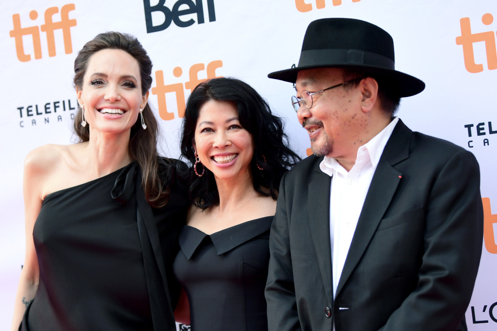 (L-R) Angelina Jolie, Loung Ung, and Rithy Panh attend the World Premiere of Netflix's Film's